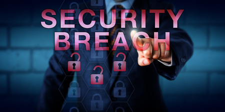 exploit: Agent is pointing at SECURITY BREACH on a touch screen. Three unlocked padlock icons lighting up in red do signify the security exploit within a computer system or network. Technology concept. Stock Photo