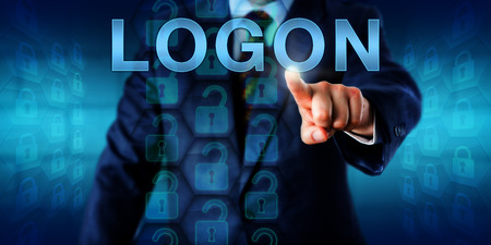 logging: Business client pressing LOGON on a touch screen interface. A set of unlocked virtual locks in a coding matrix represent authorized access upon successful identification. Security technology concept. Stock Photo