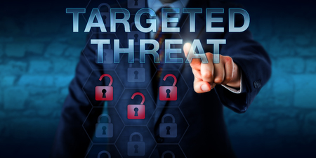 Cybercriminal pushing TARGETED THREAT onscreen. Three unlocked lock icons light up in red signifying a targeted destination attack or port attack resulting in the capture of sensitive customer data.