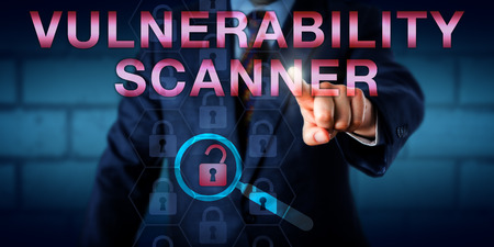 vulnerability: Network administrator is touching VULNERABILITY SCANNER onscreen. A virtual magnifier is detecting the only unlocked padlock among otherwise locked icons. Technology concept and security metaphor.