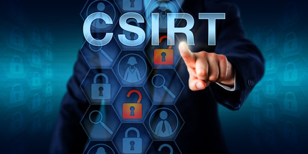 Security manager pressing CSIRT on a screen. Technology concept and business metaphor for Computer Security Incident Response Team. Several icons do refer to tasks of handling IT security incidents. Banco de Imagens