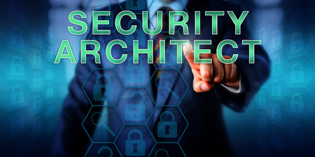 assessed: Corporate employer is pushing SECURITY ARCHITECT onscreen. Unlocked and secured virtual locks embedded in a hexagonal structure represent software infrastructure with vulnerabilities to be assessed. Stock Photo