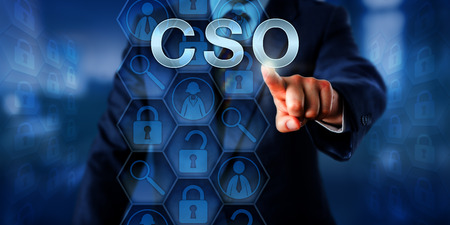 C-level corporate executive touching CSO. Business concept for the top role of Chief Security Officer. Data sets with icons relate to operational risk management and safeguarding of company assets.
