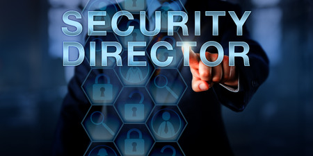 Recruiter is pressing SECURITY DIRECTOR on a touch screen. Business concept for the role of a senior-level information security professional with a successful career in cybersecurity. Copy space.