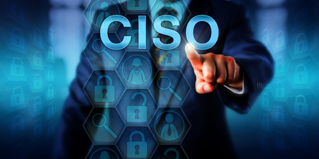 headhunter: Headhunter pushing CISO on touch screen. Technology career concept for C-level management executive position of Chief Information Security Officer. Responsible for overall security of organizations.