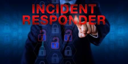 security gap: Male manager is pressing INCIDENT RESPONDER on a touch screen. Information security technology concept for a cyber firefighter troubleshooting for the root causes of security gaps and system flaws.