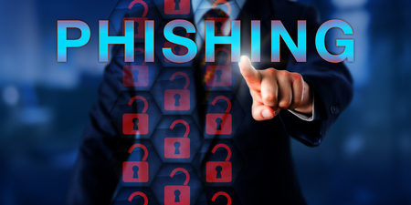 exploit: IT administrator pushing PHISHING. Red unlocked padlock icons in a hexagonal security matrix do represent an exploit of current web security technology and a malicious attack on sensitive data. Stock Photo