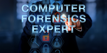 compile: Law enforcement officer is touching COMPUTER FORENSICS EXPERT onscreen. Security technology concept for a specialist capable of investigating data breach and security incidents. Copy space. Stock Photo