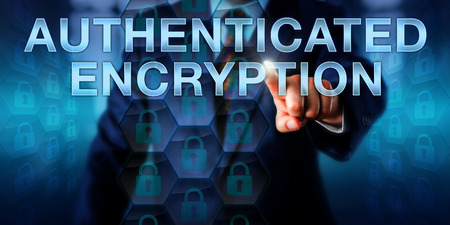 metadata: Programmer touching AUTHENTICATED ENCRYPTION onscreen. Business and security technology concept. Locked padlock icons in hexagons signify assurance of confidentiality, integrity and authenticity.