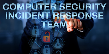 cyber defence: IT director is touching COMPUTER SECURITY INCIDENT RESPONSE TEAM onscreen. Security technology and business concept for a team of professional cyber firefighters skilled to counter cybercrime.