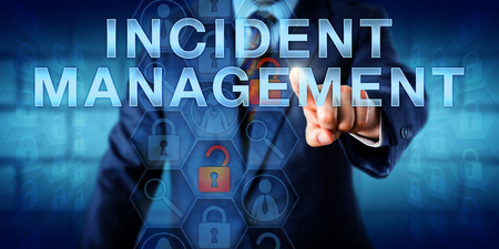 incident: Administrator is pushing INCIDENT MANAGEMENT on a touch screen interface. Technology metaphor and business concept. Magnifier icons relating to incident detection, investigation and analysis.