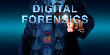 Investigator pushing DIGITAL FORENSICS on a touch screen. Cyber security technology and science concept for the electronic discovery process and investigation of an unauthorized network intrusion. Stock Photo