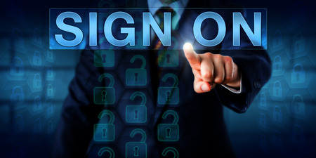 relates: IT administrator is pressing SIGN ON on a touch screen interface. A stream of unlocked padlock icons relates to authenticated access in a computing session. Technology concept and business metaphor.