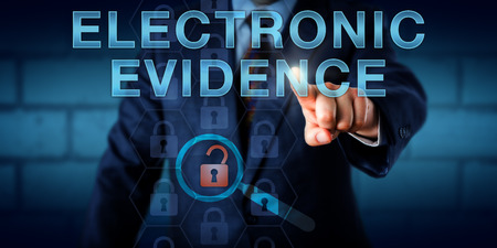 forensics: Forensics expert pressing ELECTRONIC EVIDENCE on a touch screen. Technology concept and business metaphor. A single unlocked padlock icon is lighting up under a virtual magnifier signifying evidence. Stock Photo