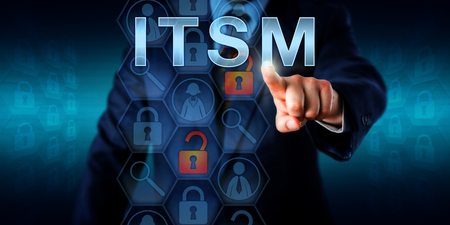 signify: Business customer pressing ITSM onscreen. Concept for information technology service management. Unlocked lock icons refer to network incidents, magnifier symbols signify specialized software tools.