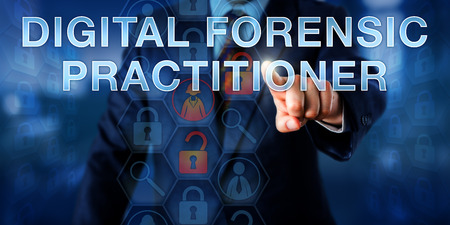 examiner: Examiner is pushing DIGITAL FORENSIC PRACTITIONER onscreen. Law enforcement metaphor and technology concept. Unlocked padlock icons refer to digital evidence and magnifiers to analytical tools.