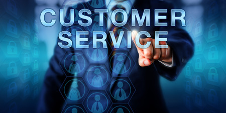 approach: Business manager is pressing CUSTOMER SERVICE on a touch screen interface. Technology metaphor and business concept for professional assistance, technical support and customer-focused approach.