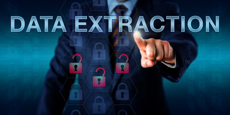 forensics: Forensics expert is pushing DATA EXTRACTION onscreen. Business metaphor and security technology concept. Three unlocked padlock icons do light up in red signifying recovery of evidentiary data. Stock Photo