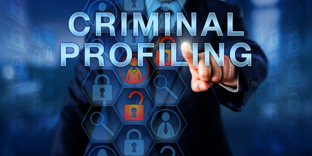 linkage: Law enforcement agent touching CRIMINAL PROFILING onscreen. Business metaphor and technology concept. A female white collar icon is highlighted and linked to two open locks signifying case linkage.
