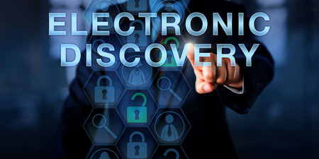 examiner: Forensic examiner is pressing ELECTRONIC DISCOVERY on a touch screen. Technology concept and business metaphor. Magnifier icons relate to the digital forensic process of identification of evidence. Stock Photo