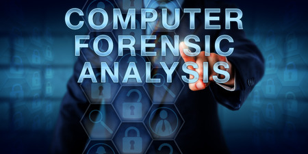 Examiner is touching COMPUTER FORENSIC ANALYSIS onscreen. Business metaphor and technology concept. locked and unlocked padlock icons reference retrieved documents and encrypted electronic evidence.