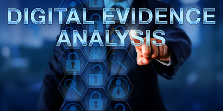 Forensic investigator is touching DIGITAL EVIDENCE ANALYSIS onscreen. Law enforcement technology and service concept. Magnifier icons represent forensic tools and lock symbols reference evidence. Imagens
