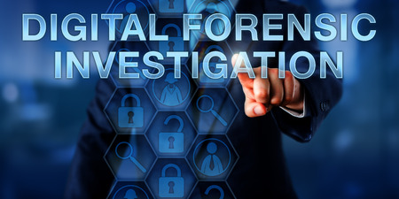Examiner pressing DIGITAL FORENSIC INVESTIGATION on a touch screen interface. Business metaphor and technology concept. Magnifying glass icons represent analytical tools for investigative techniques. Stock Photo