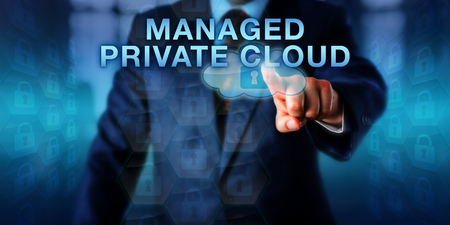 managed: Enterprise tenant is pushing MANAGED PRIVATE CLOUD on a virtual touch screen. Business metaphor and software architecture concept for a third-party managed software service serving a single tenant. Stock Photo