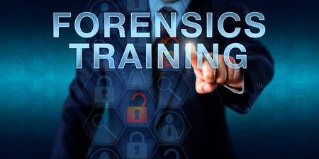continued: Investigator is touching FORENSICS TRAINING on an interactive screen. Business metaphor and technology concept for continued professional development, short CPD, in the law enforcement sector. Stock Photo