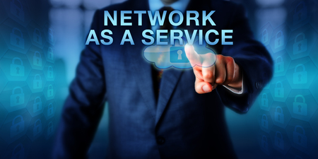 utilize: Solution provider is pressing NETWORK AS A SERVICE onscreen. Also called NaaS. Business and technology concept for computing network connectivity and resource allocation for virtual private networks.