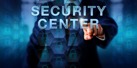 firewalls: Cyber professional is pressing SECURITY CENTER on a touch screen interface. Business metaphor and security technology concept. Locked lock icons embedded in hexagonal structures represent firewalls.