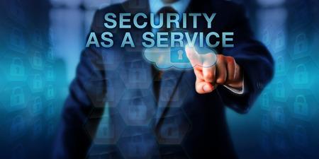 Content-Eigentümer wird als Dienst auf einem Touchscreen SICHERHEIT. Business-Metapher und Computer-Technologie-Konzept für die Integration von Sicherheitsdienstleistungen von einem Cloud-Service-Provider geliefert.