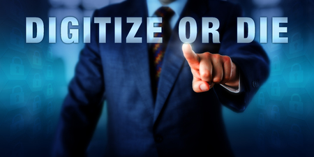 challenges ahead: Entrepreneur is pushing the phrase DIGITIZE OR DIE on a touch screen. Technology catch phrase and business concept for the digital revolution restructuring publishing and the service industries.