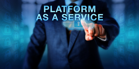 cloud computing services: Corporate client is pushing PLATFORM AS A SERVICE on a touch screen interface. Business metaphor and technology concept for cloud computing services managing infrastructure on behalf of customers.