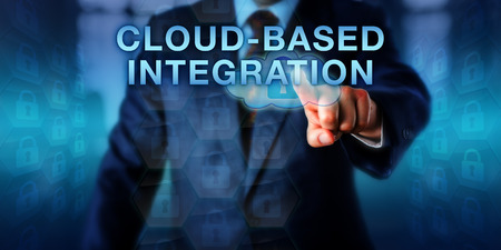 managed: Platform developer pushing CLOUD-BASED INTEGRATION on a virtual touch screen. Business metaphor and technology concept for a fully managed systems integration service delivered via the cloud.