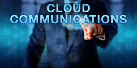 service providers: Corporate client is pushing CLOUD COMMUNICATIONS on a touch screen. Business model and information technology concept for data communications hosted by external third-party service providers.
