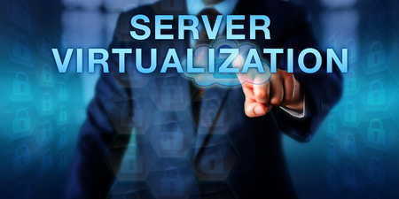 technology metaphor: Business user is touching SERVER VIRTUALIZATION on a touch screen interface. Information technology metaphor and security concept for a secure virtual host server operated by a service provider. Stock Photo