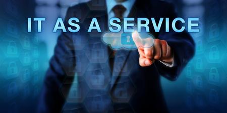 pesebre: unidad de negocio pesebre empujando COMO UN SERVICIO pantalla. met�fora de negocios y el concepto de tecnolog�a de la informaci�n para un modelo operativo destinado a la ejecuci�n de un departamento de TI de la empresa como un negocio.