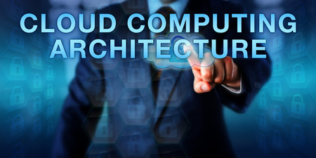 front end: Client is pressing CLOUD COMPUTING ARCHITECTURE onscreen. Business metaphor and information technology concept for components like front end platform, server and storage required for cloud computing.