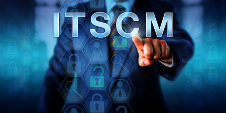 information management: Business planning administrator is pushing ITSCM on a touch screen interface. Technology concept and business metaphor for information technology service continuity management processes.