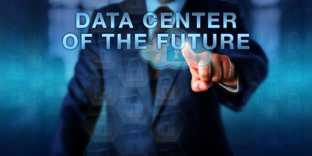 systems operations: Systems librarian is touching DATA CENTER OF THE FUTURE on a virtual screen. Business metaphor and information technology concept for IT operations storing data and securing business continuity. Stock Photo
