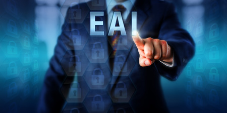 middleware: Enterprise client is pushing EAI on a touch screen interface. Business metaphor and information technology concept for Enterprise Application Integration or an enabling middleware framework.
