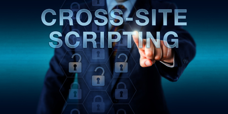 vulnerability: Corporate Client is pressing CROSS-SITE SCRIPTING on a touch screen interface. Information technology concept for a computer security vulnerability that is bypassing access controls on the web.