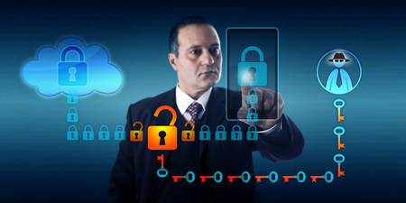 intercept: Businessman synchronizing a mobile device with cloud storage. A black hat hacker is intercepting this connection between smart phone and the cloud by breaking the encryption of the data stream. Stock Photo