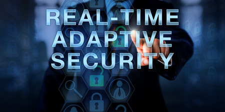 vulnerabilities: Manager touching REAL-TIME ADAPTIVE SECURITY on a virtual screen. Business metaphor and information technology concept for network security capable of dealing with moving threats and vulnerabilities.