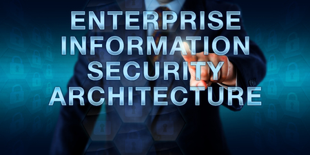 Manager is pressing ENTERPRISE INFORMATION SECURITY ARCHITECTURE on a touch screen interface. Business metaphor and information technology concept for aligning business to security. Imagens
