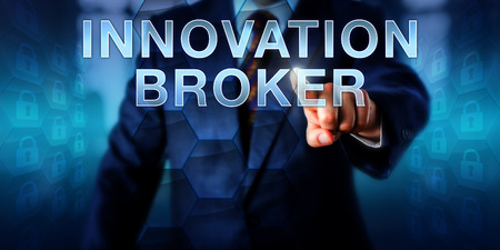 facilitator: Corporate client pushing INNOVATION BROKER on a screen. Business metaphor and information technology concept for IT departments assuming the role of innovation broker in the area of virtualization.