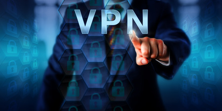 accessed: White collar attacker is pressing VPN on a touch screen interface. Information technology metaphor and computer security concept for a Virtual Private Network accessed via remote user authentication.