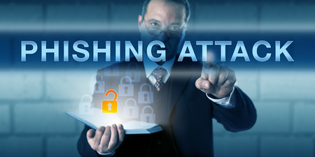 unsuspecting: Corporate security trainer pushing PHISHING ATTACK on an interactive touch screen. Business challenge metaphor and information technology concept for malicious attempt to lure an unsuspecting user. Stock Photo