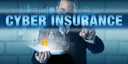 Legal counsel professional is touching CYBER INSURANCE on a virtual touch screen interface.